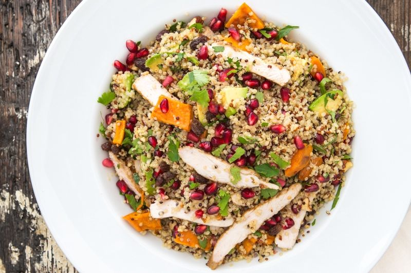 Pomegranate and Dukkah Chicken salad